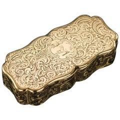 Antique Victorian 18-Karat Gold Snuff Box, Nathaniel Mills, circa 1851