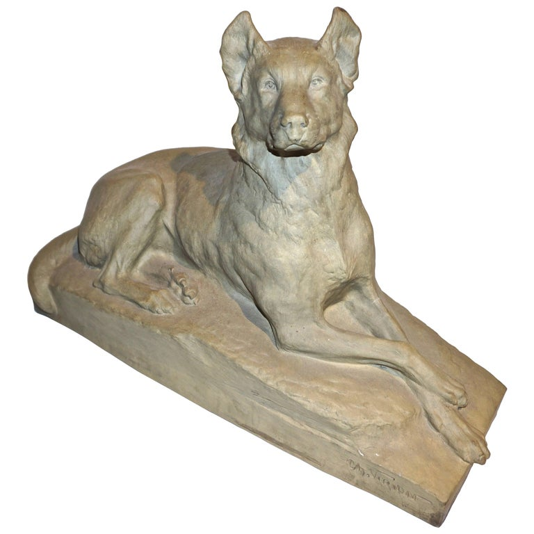 Charles Virion 1920 Antique Gray Terracotta Sculpture of a German Shepherd Dog For Sale