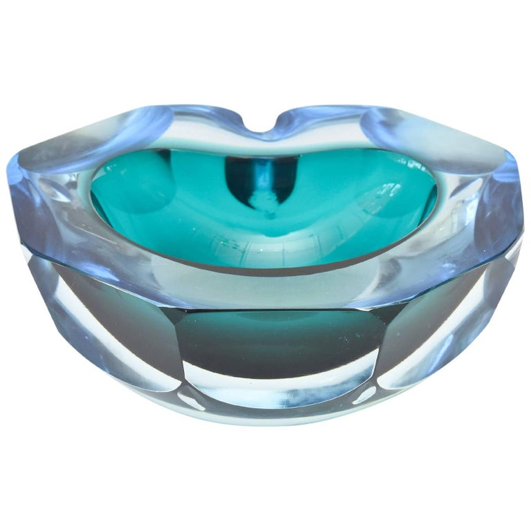 Italian Murano Cenedese Faceted Sommerso Chunky Glass Bowl