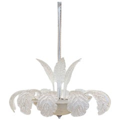 Midcentury Murano Glass Chandelier with Leaf and Palm Fronds