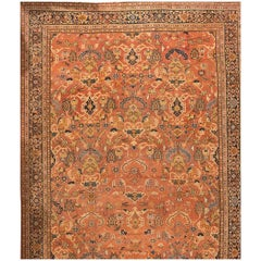 Oversize Antique Rust Persian Sultanabad Carpet