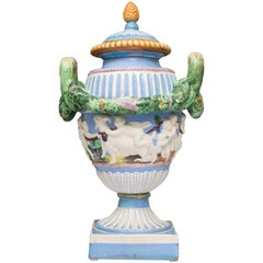 19th Century Della Robbia Italian Hand-Painted and Glazed Lidded Urn