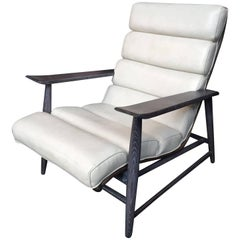 1960s Cerused Oak and Ecru Leather Armchair in the Manner of Jay Spectre