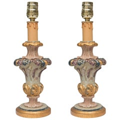 Hand-Painted and Parcel-Gilt Italian Candlesticks as Lamps