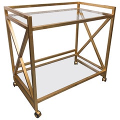 Gilt Metal Trolley with Glass Insets