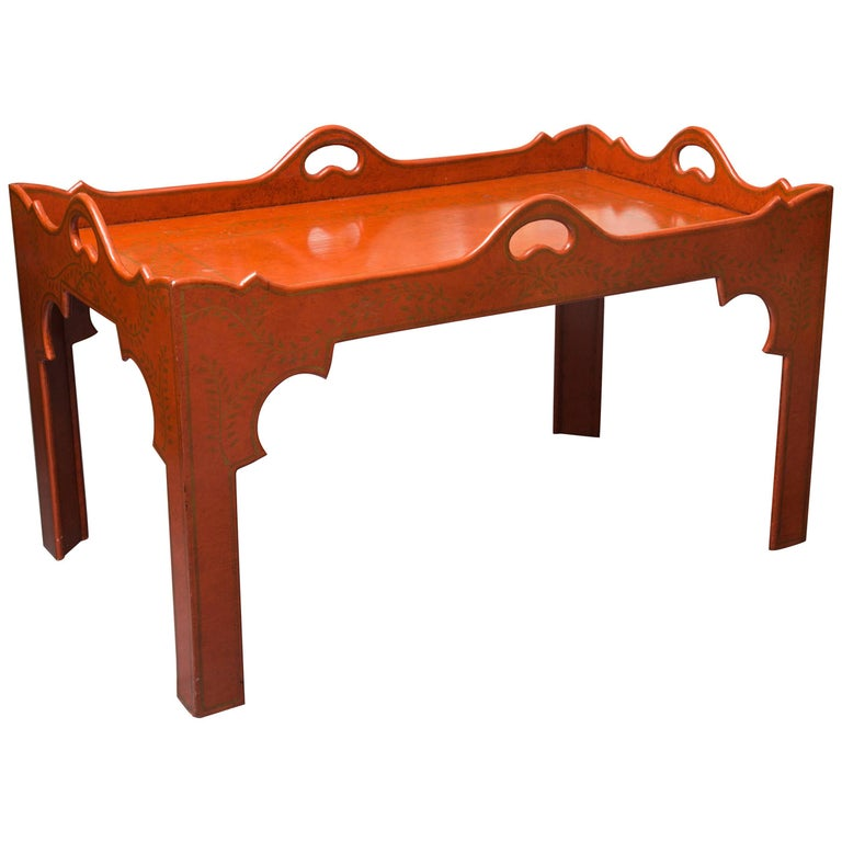 Painted, Decorated and Lacquered Tray Table For Sale