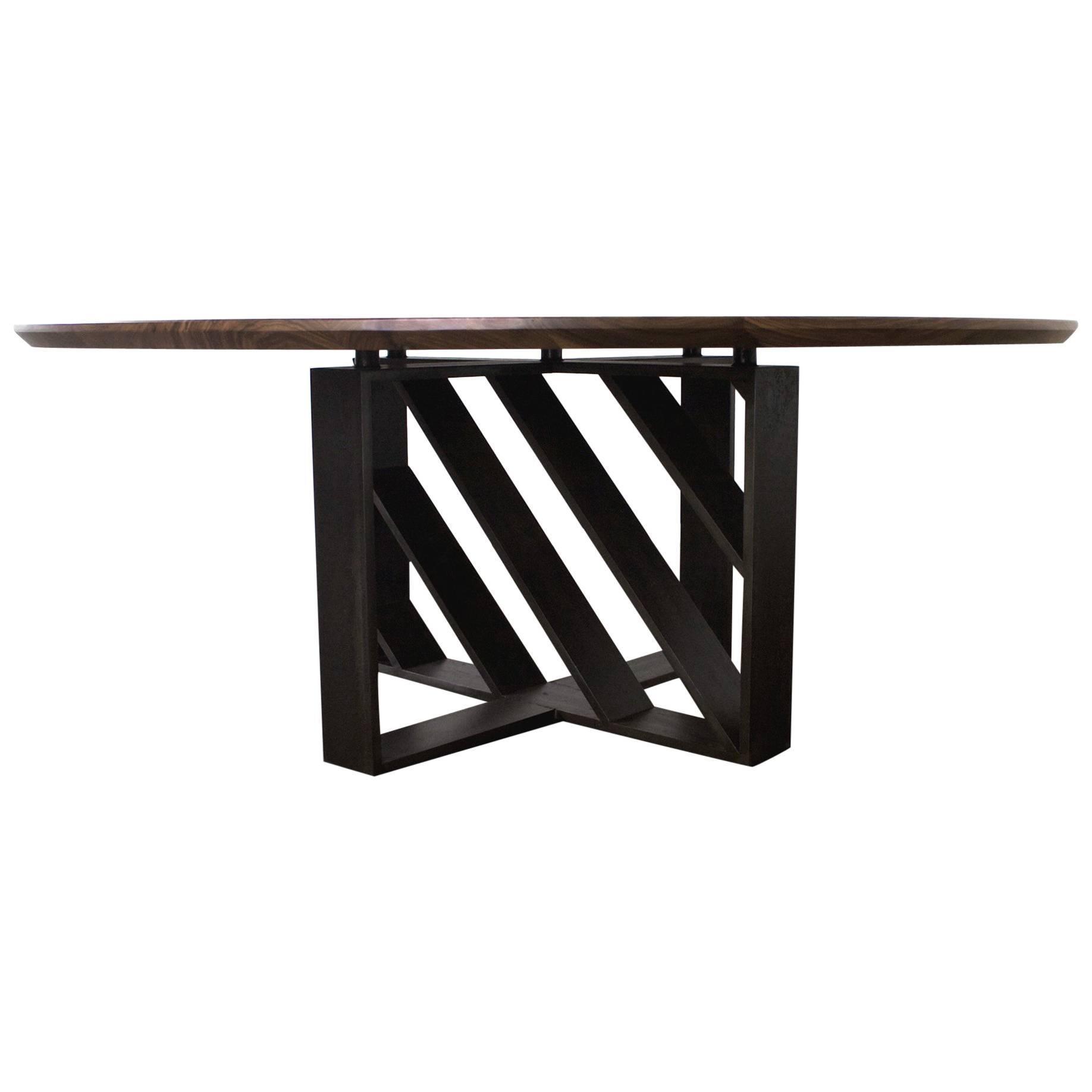 Table, Round, Dining, Blackened Steel, Hardwood, Modern, Geometric, Custom