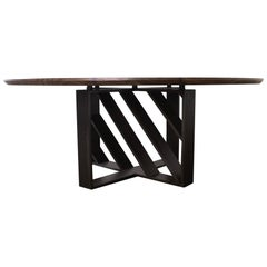 Table, Dining, Card, Blackened Steel, Hardwood, Modern, Geometric, Semigood,