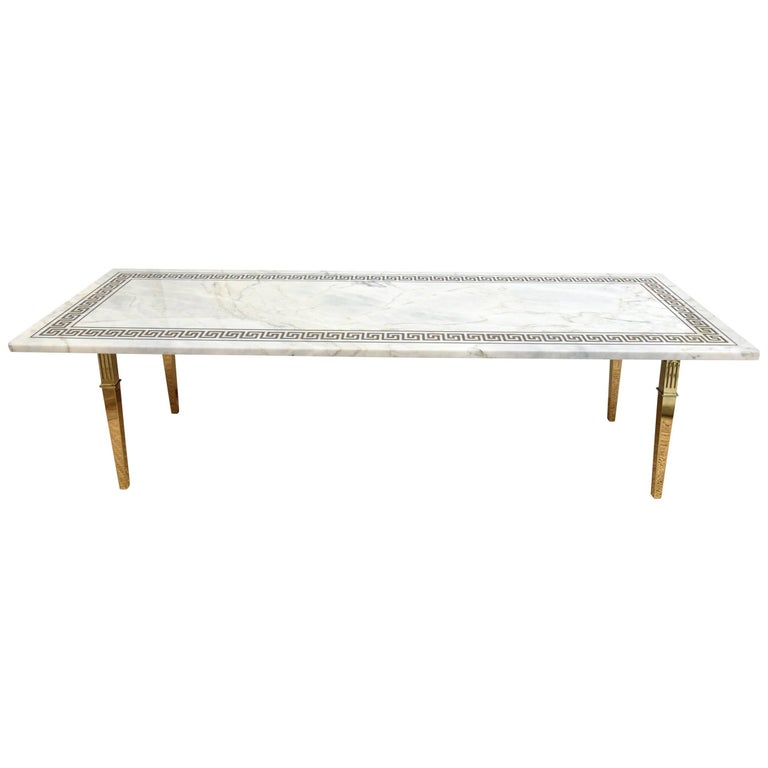 Midcentury Italian Carrara Marble Greek Key and Brass Rectangle Cocktail Table