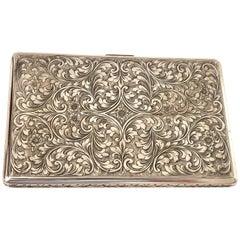 Antique Sterling Sliver Cigarette Holder Case Engraved Body