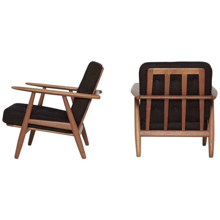 Original Pair of Hans Wegner GE-240 Cigar Chairs, Denmark, 1960s