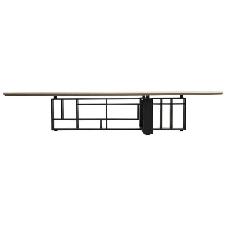 Hardwood, Blackened Steel and Glass Coffee Table with Brand Customization For Sale