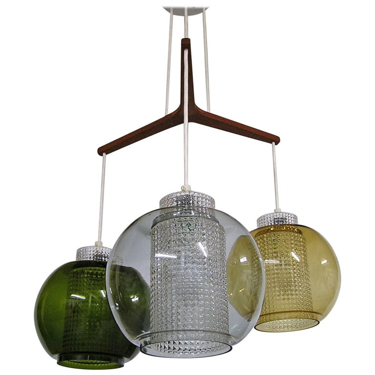 1950s Orrefors Multicolored Glass Pendant Chandelier by Carl Fagerlund, Sweden