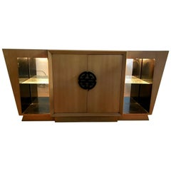 Striking Asian Modern Deco Style Light Up Dry Bar or Sideboard by Maximillion