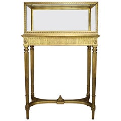 French 19th Century Louis XVI Style Giltwood Carved Exhibition Vitrine Table