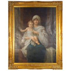 19th Century Italian Madonna and Child Oil Painting on Canvas and Giltwood Frame