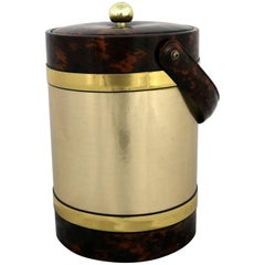 Georges Briard Ice Bucket Gold and Faux Tortoiseshell Vinyl, Mid-Century Modern
