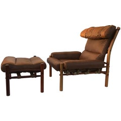 Arne Norell Inca Lounge Chair and Footrest
