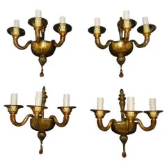 Beautiful Set of Four Hands Blown Murano Glass Sconces Signed Mazzega