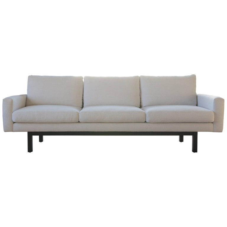 Contemporary Standard Sofa in Arctic Fabric, Black Base