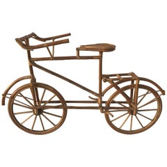 Whimsical Rattan Lifesize Bicycle Sculpture