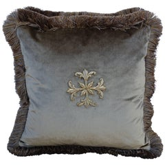 Gold Metallic Appliqued Silk Velvet Pillows, Pair