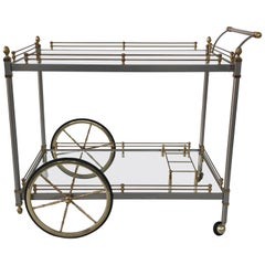 Chrome and Brass Bar Cart Attributed to Maison Jansen