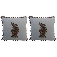 Metallic & Chenille Floral Appliqued Linen Pillows, a Pair
