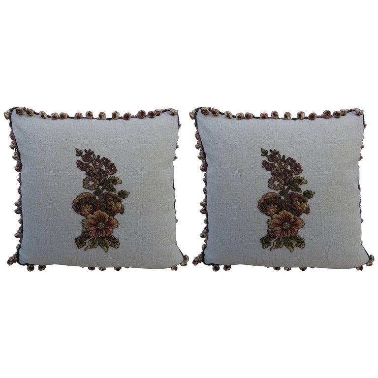 Metallic & Chenille Floral Appliqued Linen Pillows, a Pair For Sale