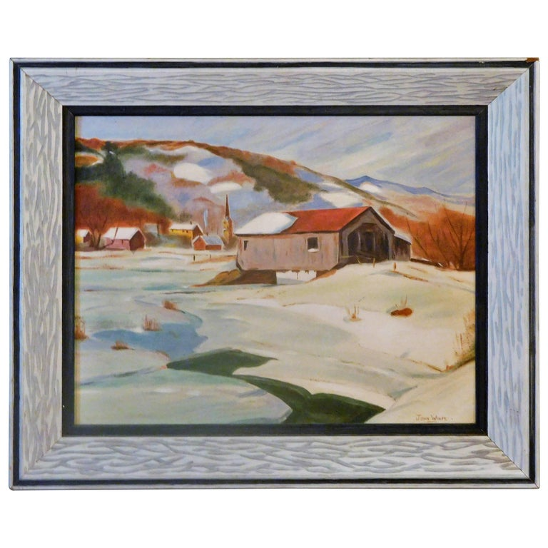 New England Winter Day, John Wolfe, Oil Paint on Academy Board, circa 1950 For Sale