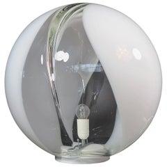 Midcentury Membrane Murano Glass Globe Table Lamp, Toni Zuccheri Style