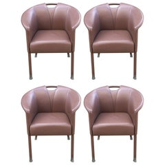 Paolo Piva, 4 Leather Armchairs, Edition Wittmann, circa 1980