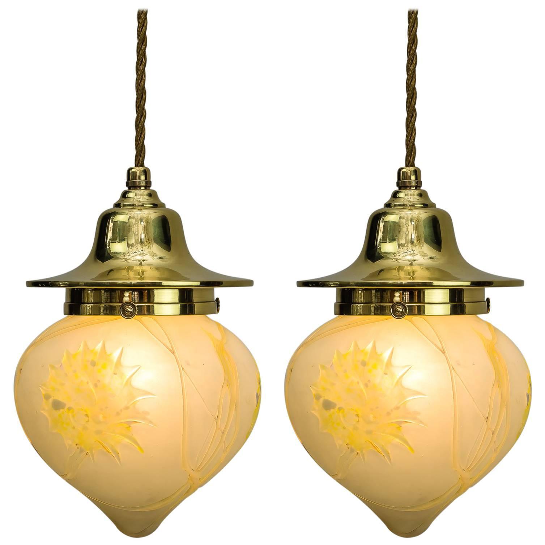 Two Jugendstil Pendants with Original Palme Koenig Glass Shades
