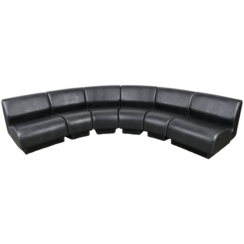 Midcentury Modular Sofa by Don Chadwick for Herman Miller, 1970 Black Snakeskin