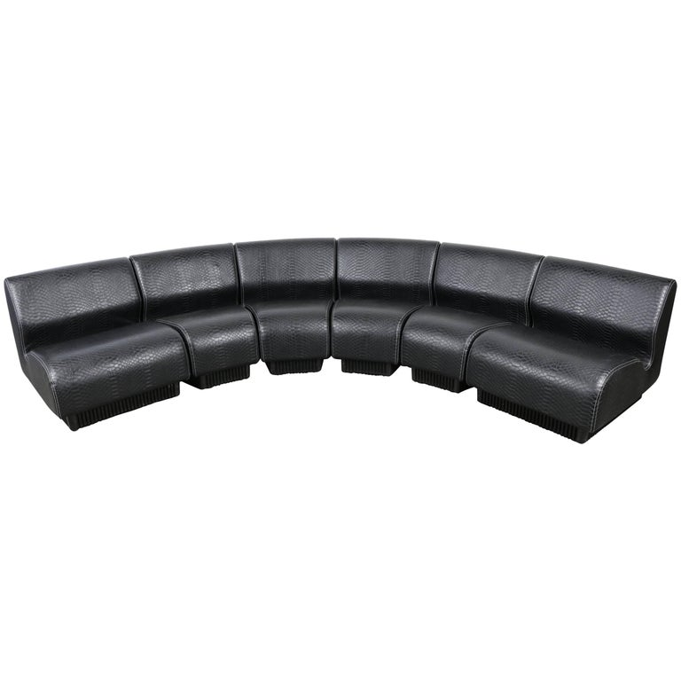 Midcentury Modular Sofa by Don Chadwick for Herman Miller, 1970 Black Snakeskin