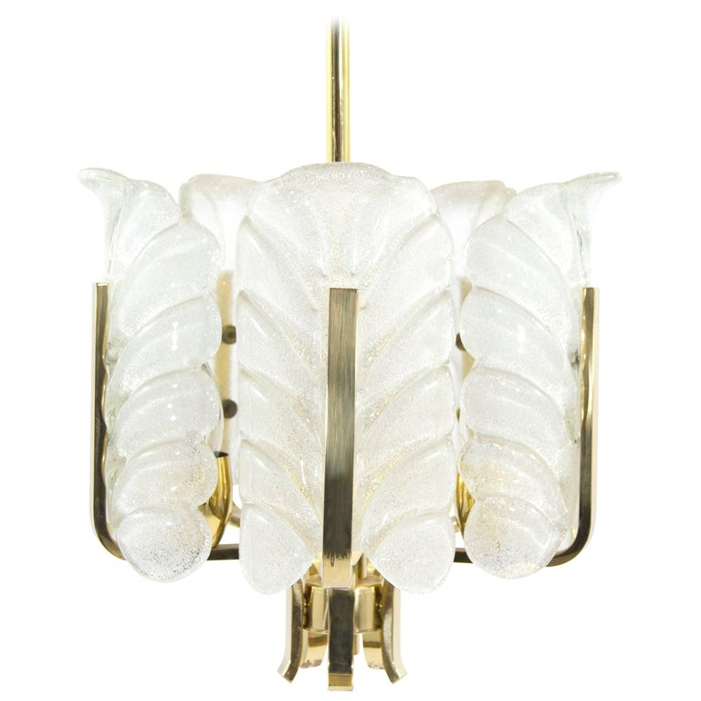 Murano Glass Brass Chandelier by Carl Fagerlund for Orrefors, Sweden, 1960s