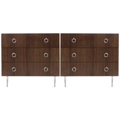 Walnut Chests of Drawers on Nickel Legs