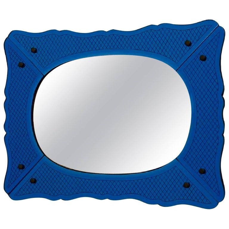 1940s Deep Blue Venetian Mirror with Brass Beading