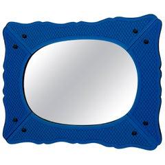 1940s Vintage Deep Blue Incised Venetian Mirror with Brass Beading