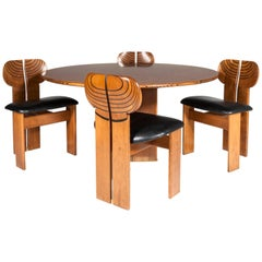 "Tobia and Afra Scarpa Set of Cicular Dining Room Model ""Africa"" for Maxalto"