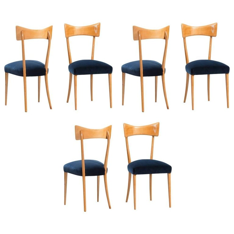 Italian Dining Chairs in the Style of Ico Parisi, Set of Six