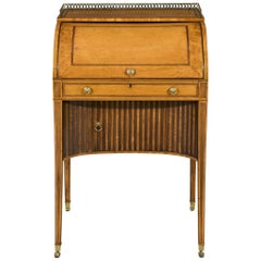 Sheraton Period West Indian Satinwood Inlaid Cylinder Secretaire Desk