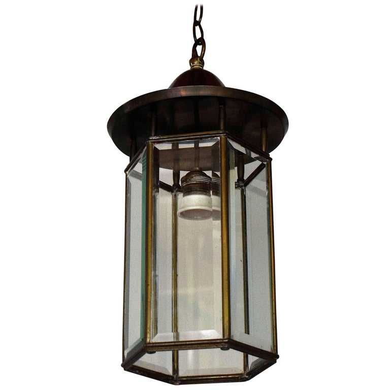 Large Adolf Loos Style Pendant Lantern Beveled Glass Patinated Brass Vienna