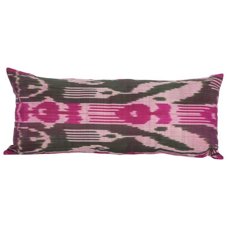 Antique Ikat Pillow Case Fashioned from Early 20th Century Uzbek Ikat