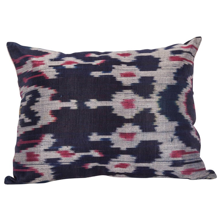 Antique Ikat Pillow Case Fashioned from a Late 19th Century Tajik Ikat