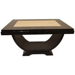 Black Lacquered Art Deco Coffee Table with Inlaid Parchment