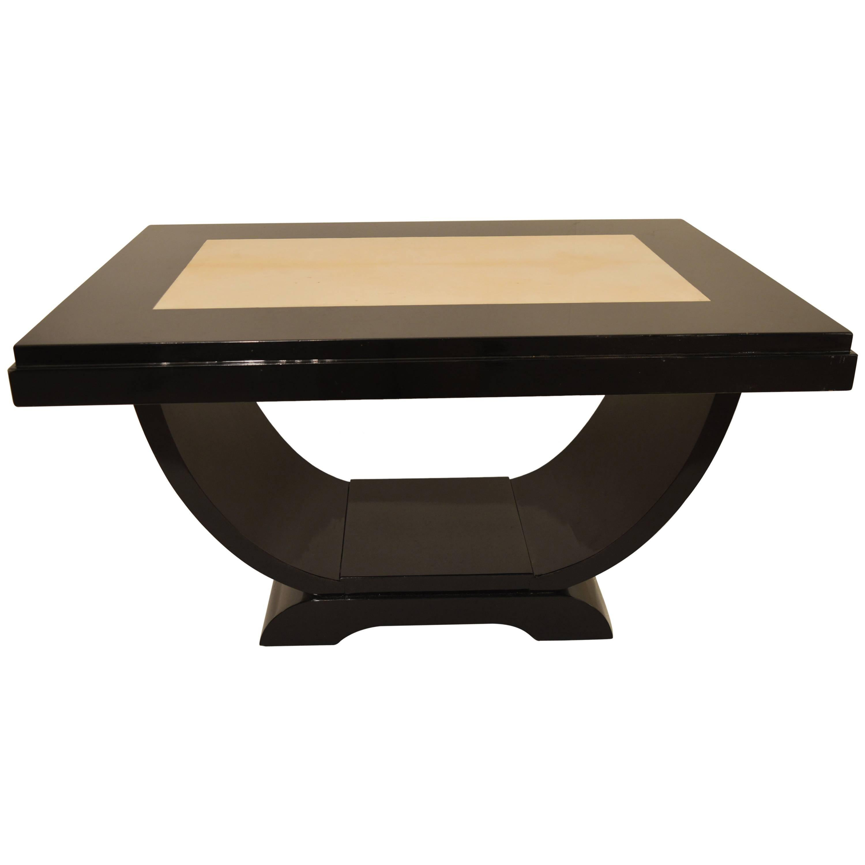 Black Lacquered Art Deco Coffee Table With Inlaid Parchment For Sale