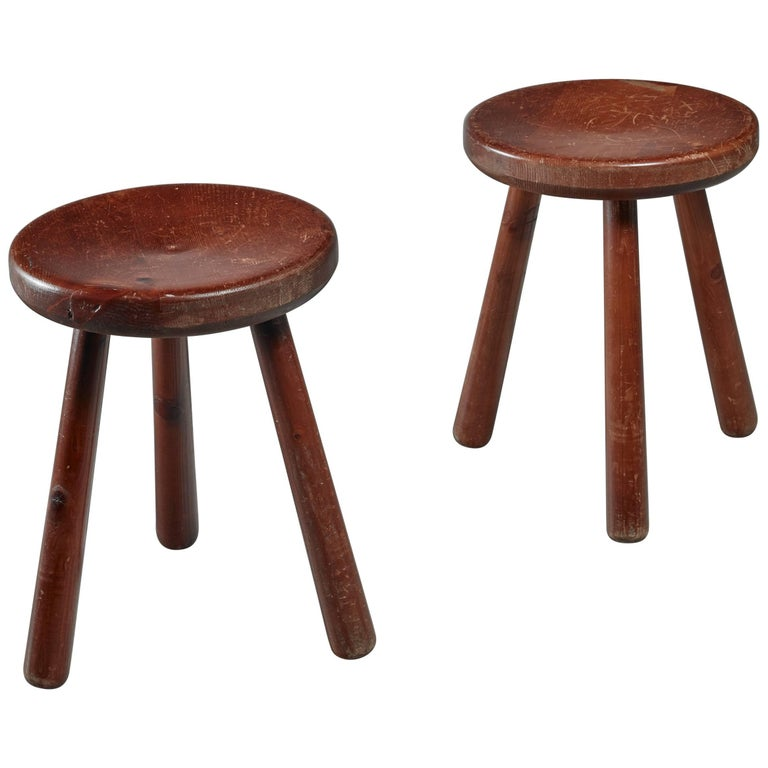 Pair of French Campagne Style Tripod Stools, 1950s