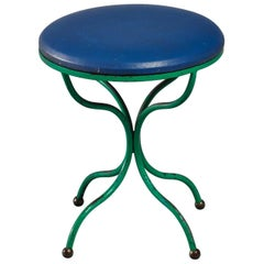 Rare Tony Paul Turquoise and Blue Stool with Brass Ball Feet, USA, 1950s