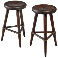 Pair of High Scandinavian Wooden Tripod Stools with Iron Connections, 1930s
